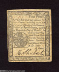 "Colonial Notes:Pennsylvania, Pennsylvania April 10, 1777 4d Fine. This is the printed in allblack ink variety. The back carries the ""To Counterfeit is D..."