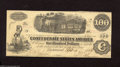 Confederate Notes:1862 Issues, T40 $100 1862. Interest was paid at Raleigh, NC on this lightly handled $100. About Uncirculated....