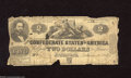 Confederate Notes:1862 Issues, T42 $2 1862. This $2 shows a couple of edge wounds and furlingcaused by commercial transactions. Good....