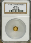 California Fractional Gold: , 1872 25C Liberty Round 25 Cents, BG-814, High R.5, MS65 ProoflikeNGC. A decidedly reflective Gem whose strike is exemplary...
