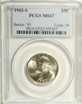 Washington Quarters: , 1942-S 25C MS67 PCGS. The blazing white luster that encompassesthis Superb Gem is next to blemish- free, thus the grade. H...