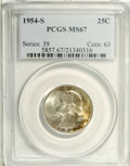Washington Quarters: , 1954-S 25C MS67 PCGS. Highly lustrous with a significant amount oforiginal, attractive toning on each side. Generally well...