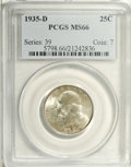 Washington Quarters: , 1935-D 25C MS66 PCGS. The milky silver-gray patina is bothattractive and original. A lustrous and well preserved Gem that ...