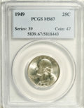Washington Quarters: , 1949 25C MS67 PCGS. Highly lustrous with a trace of beetle-greenand gold toning. This well struck and highly lustrous beau...