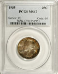 Washington Quarters: , 1955 25C MS67 PCGS. Auburn, gold, and violet-blue patina appearsagainst a backdrop of sea-green and silver-gray. An exacti...