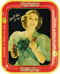 "Advertising:Soda Items, 1930s Dr. Pepper Serving Tray, 10.5"" x 13.25"", by Robertson, Springfield, Ohio. A pretty double-fisted Dr. Pepper drinker de..."