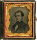 Photography:Ambrotypes, Jefferson Davis 1/9th Plate Ambrotype in Case. President of theConfederate States of America. Pierce's Secretary of War and...