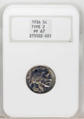 Proof Buffalo Nickels: , 1936 5C Type Two--Brilliant Finish PR67 NGC. Uniformly reflectiveand deeply mirrored surfaces, the hall mark of Type Two c...