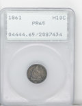 Proof Seated Half Dimes: , 1861 H10C PR65 PCGS. Deep steel-blue and steel-gray patina coverseach side of this Gem proof, one of only 1,000 pieces pro...