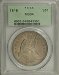Seated Dollars: , 1849 $1 MS64 PCGS. An elusive issue in Mint State, here representedby a gorgeous example wit...