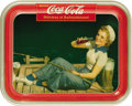 "Advertising:Soda Items, 1940 Girl On The Dock Coca-Cola Tray, 10.5"" x 13.5"", by AmericanArt Works, Coshocton, Ohio for the Coca-Cola Company of Can..."