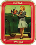 "Advertising:Soda Items, 1942 Girls by the Car Coca-Cola Tray, 10.5"" x 13.25"", by AmericanArt Works, Coshocton, Ohio. These stateside gals sure seem..."