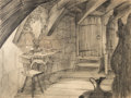 Animation Art:Production Drawing, Cinderella Room Interior Background Layout Drawing (Walt Disney, 1950)....
