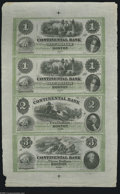 Obsoletes By State:Massachusetts, Boston, MA- Continental Bank $1-$1-$2-$3 Oct. 18__ Uncut Sheet This is a very scarce uncut sheet with this being the first ...