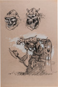 Animation Art:Concept Art, Mike Ploog The Black Cauldron Soldier Character Design Art (Walt Disney, 1985)....