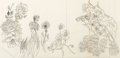 Animation Art:Production Drawing, Alice in Wonderland Flower Characters Layout Drawing (Walt Disney, 1951)....