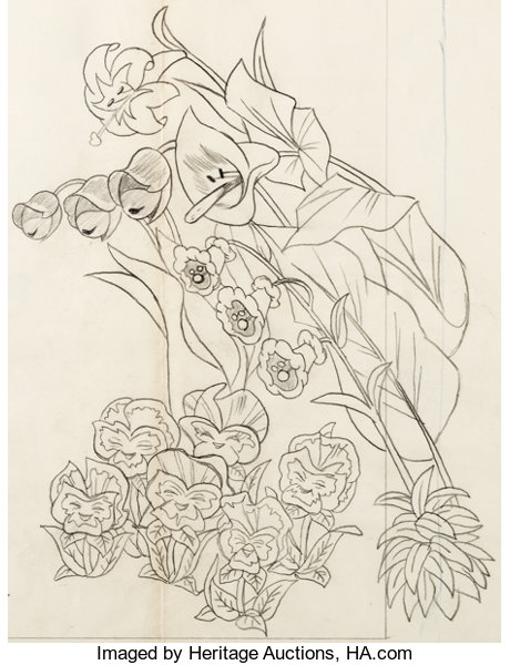 Alice In Wonderland Flower Characters Layout Drawing Walt Disney Lot 95129 Heritage Auctions