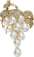 Estate Jewelry:Brooches - Pins, South Sea Cultured Pearl, Diamond, Gold Pendant-Brooch. ...