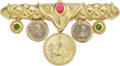 Estate Jewelry:Brooches - Pins, Multi-Stone, Coin, Gold Brooch, SeidenGang. ...