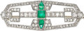 Estate Jewelry:Brooches - Pins, Diamond, Emerald, Platinum Brooch. ...
