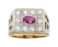 Estate Jewelry:Rings, Gentleman's Pink Sapphire, Diamond, Gold Ring. ...