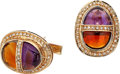 Estate Jewelry:Cufflinks, Diamond, Amethyst, Citrine, Gold Cuff Links. ...