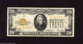 Small Size:Gold Certificates, Fr. 2402 $20 1928 Gold Certificate. Fine-Very Fine. This note exhibits colorful overprints with wide margins, though there ...