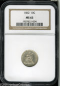 Seated Dimes: , 1862 10C MS63 NGC. ...