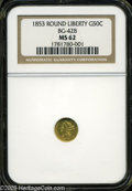 California Fractional Gold: , 1853 50C Liberty Round 50 Cents, BG-428, R.3, MS62 NGC. ...