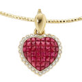 Estate Jewelry:Pendants and Lockets, Diamond, Ruby, Gold Enhancer-Pendant-Necklace. ...