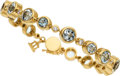 Estate Jewelry:Bracelets, Aquamarine, Diamond, Gold Bracelet, Temple St. Clair. ...