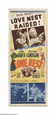 """Love Nest (20th Century Fox, 1951). Insert (14"""" X 36""""). Offered here is an original theater-used insert for th..."""