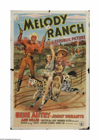 """Melody Ranch (Republic, 1940). One Sheet (27"""" X 41""""). Offered here is a vintage, theater-used poster for this..."""
