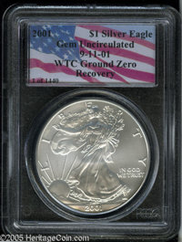 2001 $1 Silver Eagle Gem Uncirculated Collector's Universe. Ex: 9-11-01 WTC Ground Recovery. Although not given a numeri...