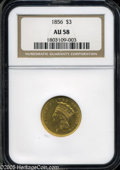 Three Dollar Gold Pieces: , 1856 $3 AU58 NGC. ...
