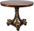Furniture : Continental, An Empire-Style Maghoany and Giltwood Center Table. 30 h x 36 w x36 d inches (76.2 x 91.4 x 91.4 cm). ...
