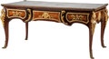 Furniture : French, A Louis XV-Style Gilt Bronze-Mounted Bureau Plat. 32 h x 68 w x 37 d inches (81.3 x 172.7 x 94.0 cm). ...