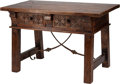 Furniture : Continental, A Renaissance Revival-Style Trestle Table. 30 h x 47 w x 26 dinches (76.2 x 119.4 x 66.0 cm). ...