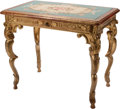 Furniture , A Venetian-Style Giltwood Table with Needlepoint Top. 32 h x 20 w x 28 d inches (81.3 x 50.8 x 71.1 cm). ...