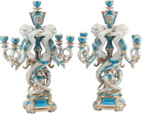 A Pair of Sevres-Style Porcelain Five-Light Candelabra 24-1/2 h x 9 w x 14 d inches (62.2 x 22.9 x 35.6 cm)