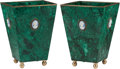 Decorative Arts, Continental, A Pair of Malachite Planters with Applied Jasperware Plaques. 7 h x5 w x 5 d inches (17.8 x 12.7 x 12.7 cm).