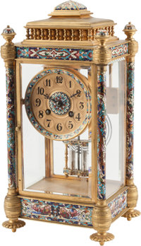 A French-Inspired Gilt Bronze and Champlevé Clock 14 h x 5 w x 6 d inches (35.6 x 12.7 x 15.2 cm)