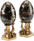 Ceramics & Porcelain, Continental, A Pair of Empire-Style Paint Decorated Egg-Shaped Table Ornaments.13 h x 5 w x 5 d inches (33.0 x 12.7 x 12.7 cm). ... (Total: 2Items)