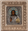 Decorative Arts, Continental, A Russian Silvered and Enameled Icon. 20 h x 17 w x 1 d inches(50.8 x 43.2 x 2.5 cm) (framed). ...
