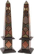 Decorative Arts, Continental, A Pair of Grand Tour-Style Specimen Marble Obelisks,. 22 h x 6 w x6 d inches (55.9 x 15.2 x 15.2 cm). ... (Total: 2 Items)