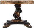 Furniture , A Venetian-Style Partial Gilt Blackamoor Table with Specimen Marble Top, 21st century. 27 h x 35 w x 35 d inches (68.6 x 88....