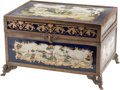 Decorative Arts, Continental, A Sevres-Style Gilt Bronze and Porcelain Table Casket. 8 h x 13 w x8 d inches (20.3 x 33.0 x 20.3 cm). ...