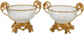 Decorative Arts, Continental, A Pair of Baccarat-Style Cut-Glass and Gilt Bronze Center Bowls. 12h x 15-1/2 w x 11-1/2 d inches (30.5 x 39.4 x 29.2 cm). ... (Total:2 Items)