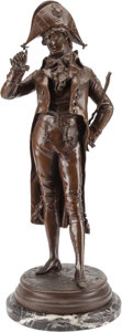Decorative Arts, Continental, A French Patinated Bronze Figure of a Gentleman. Marks: L.Lormier. 28 h x 12 w x 12 d inches (71.1 x 30.5 x 30.5 cm). ...