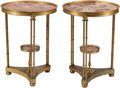Furniture , A Pair of Neoclassical Gilt Bronze and Marble Tables. 28 h x 21 w x 21 d inches (71.1 x 53.3 x 53.3 cm). ... (Total: 2 Items)